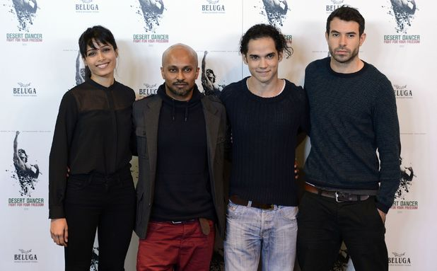 Freida Pinto, choreographer Akram Khan, actors Reece Ritchie and Tom Cullen at a photocall to publicise the upcoming film Desert Dancer at Sadlers Wells theatre, London