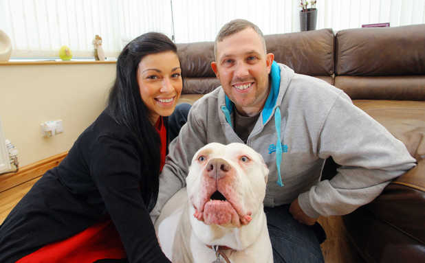 Clare and Ceri Morgan with their pet dog Teeto