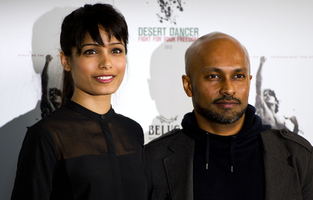 Freida Pinto and Akram Khan at a photocall to publicise the upcoming film Desert Dancer at Sadlers Wells theatre, London