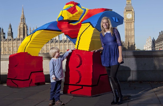 Stacey Solomon helps break a Guinness World Record by completing a lego sculpture for 'Ben 10'