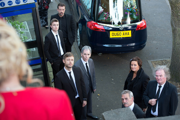 Everyone gathers for Lynsey's funeral.