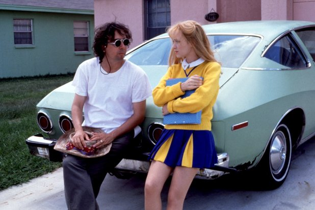 Tim Burton and Winona Ryder on the set