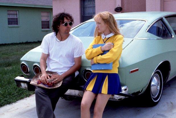 Tim Burton and Winona Ryder on the set