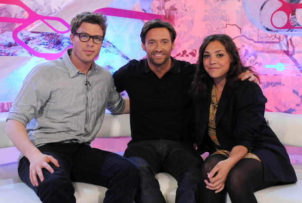 T4 hosts Rick Edwards and Miquita Oliver with Hugh Jackman, photographed in 2009