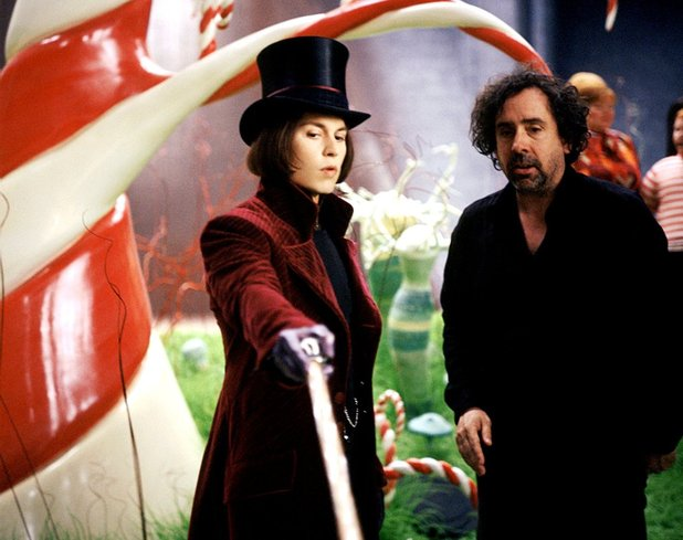 Tim Burton on set with Johnny Depp