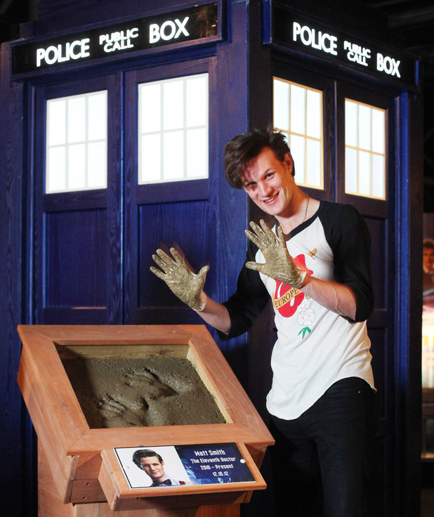 Matt Smith casts his hand prints in cement as he makes his first visit to The Doctor Who Experience in Cardiff Bay to unveil a new exhibit of monsters and props from series 7.