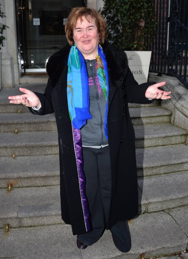 Singer Susan Boyle is spotted on the steps of The Merrion Hotel Dublin, Ireland