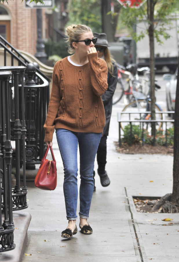 Sienna Miller takes a stroll through the West Village in Manhattan
