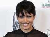 Freida Pinto at a photocall to publicise the upcoming film Desert Dancer at Sadlers Wells theatre, London