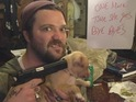 "Margera threatens to make his puppy go ""bye byes"" in Twitter picture."
