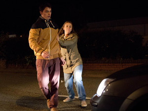 Corrie, Sophie pushes Ryan out of the way of an oncoming car, Wed 24 Oct 2012
