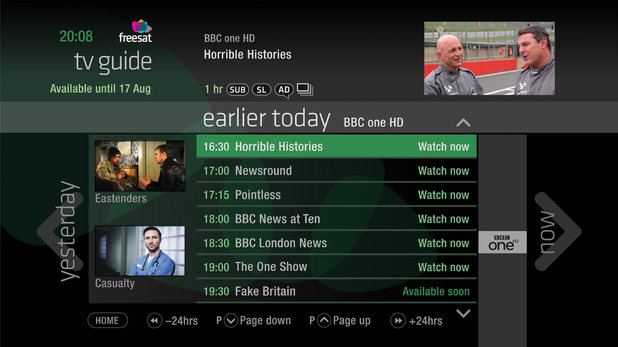 Humax box freesat box EPG screenshot