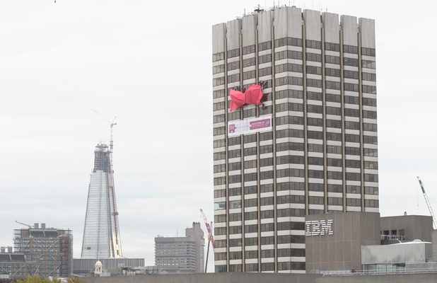 87-foot pink bra