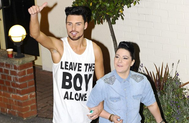 Rylan Clark and Lucy Spraggan leaving the X Factor at Fountain Studios