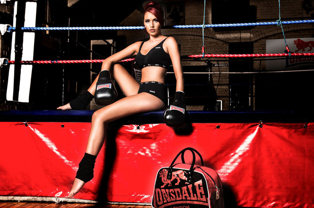 Amy Childs poses in Lonsdale underwear.