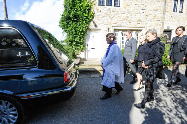 Carl's funeral day in Emmerdale
