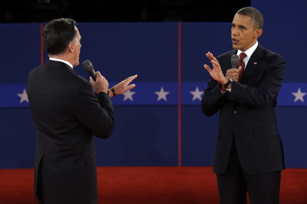 Republican presidential nominee Mitt Romney and President Barack Obama spar over energy policy during the second presidential debate at Hofstra University