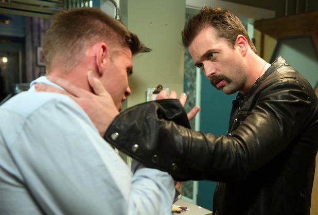Brendan finds Ste trashing the deli.