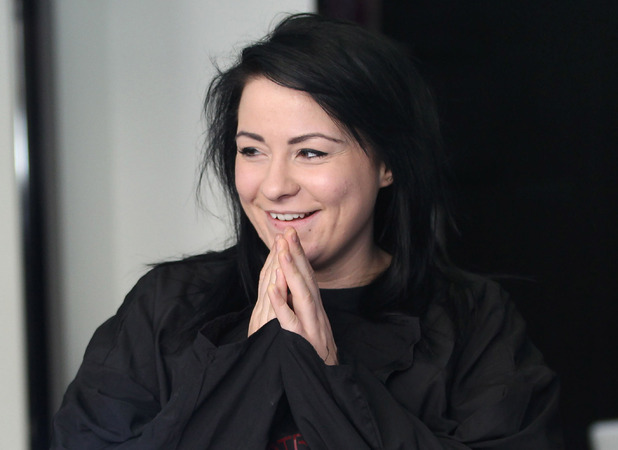 Lucy Spraggan getting her hair cut in a London salon