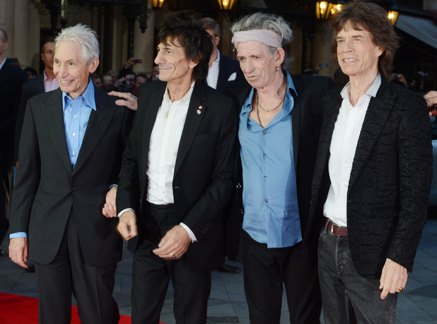 Charlie Watts, Ronnie Wood, Keith Richards and Mick Jagger of the Rolling Stones 56th BFI London Film Festival - 'The Rolling Stones: Crossfire Hurricane' - Gala Screening - Arrivals London, England - 18.10.12 Mandatory Credit: WENN.com