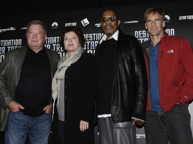 Four of the five Star Trek captains (left to right) William Shatner, Kate Mulgrew, Avery Brooks and Scott Bakula at Destination Star Trek at the ExCel Centre in London.
