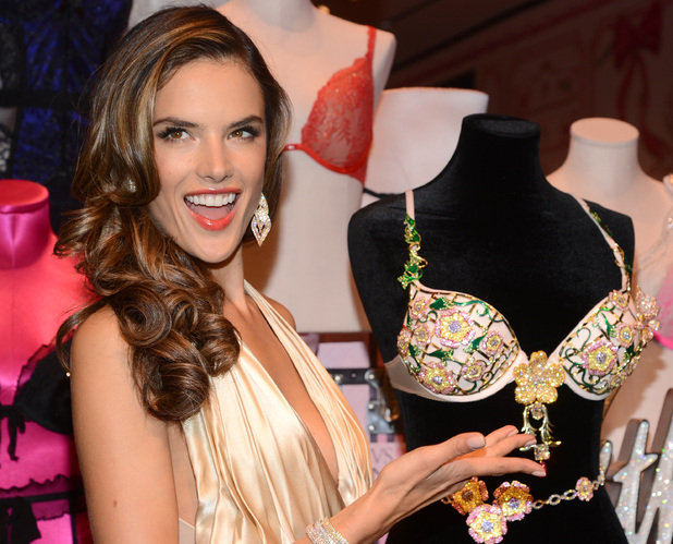 Alessandra Ambrosio reveals the Floral Fantasy Bra designed by London Jewelers, New York, America - 18 Oct 201