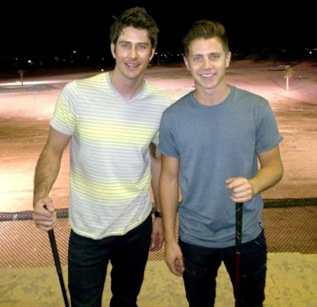 The Bachelorette stars Jef Holm and Arie Luyendyk, Jr play golf together