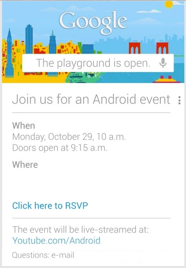 Google October 29 Android event invite