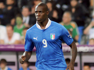 Mario Balotelli (Manchester City FC) in action for Italy