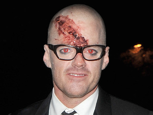 Heston Blumenthal outside the home of Jonathan Ross, enjoying his annual Halloween Party. London, England