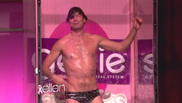 Jerry O'Connell Jerry O'Connell and Portia De Rossi appear on NBC's 'The Ellen DeGeneres Show' where they talk about their upcoming Halloween special 'Mockingbird Lane.'  O'Connell strips down to a bedazzled speedo and enters a dunk tank where Ellen, Portia and Jerry's wife Rebecca Romijn try to dunk him USA - 23.10.12