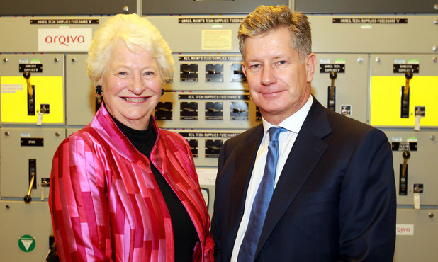 Dame Mary Peters and John Cresswell, CEO at Arqiva at the switching off, of the analogue television channels across Northern Ireland at the Divis Transmitting Station in Belfast