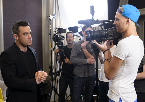 Rylan Clark and Robbie Williams on The X Factor