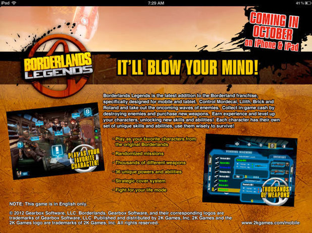 Borderland Legends, iphone/ipad app promo
