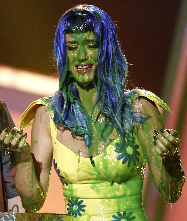 Katy Perry, slimed at Nickelodeon's 23rd Annual Kids' Choice Awards on Saturday