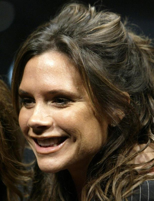 Victoria Beckham arrives at the Mercedes Benz Fashion Week LA spring/summer 2005 Fashion Week in Culver City, California.