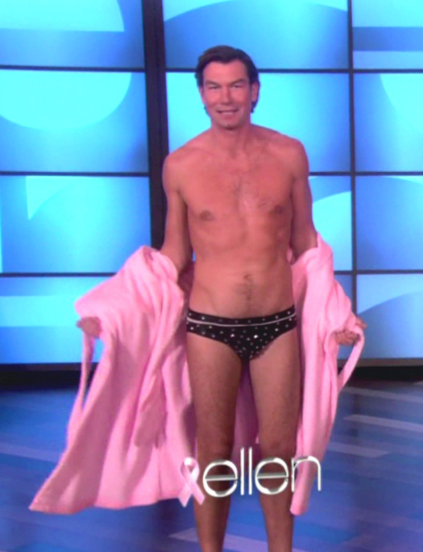 Jerry O'Connell, Rebecca Romijn and Portia De Rossi Jerry O'Connell and Portia De Rossi appear on NBC's 'The Ellen DeGeneres Show' where they talk about their upcoming Halloween special 'Mockingbird Lane.'  O'Connell strips down to a bedazzled speedo and enters a dunk tank where Ellen, Portia and Jerry's wife Rebecca Romijn try to dunk him USA