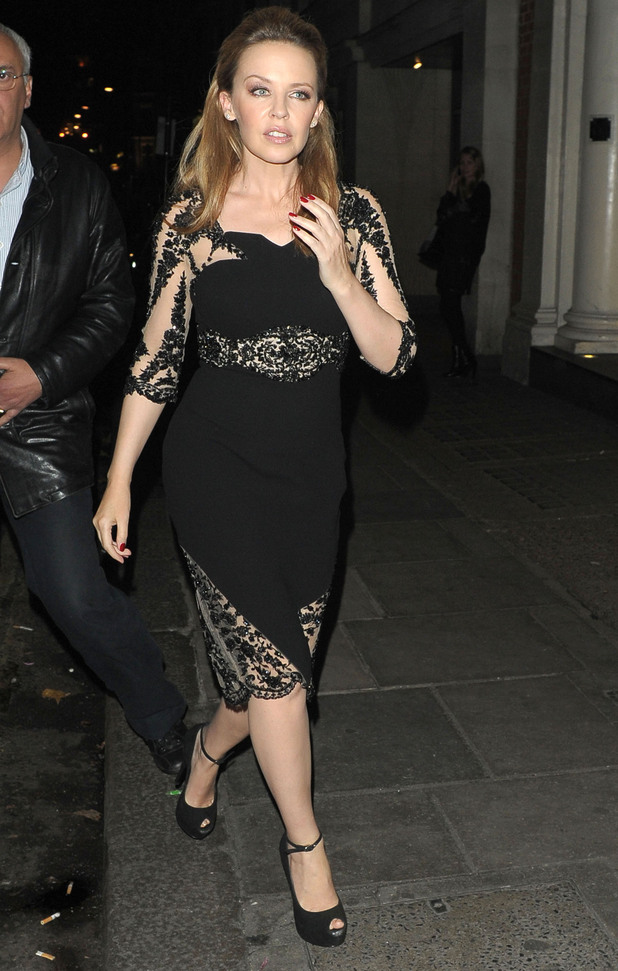 Kylie Minogue leaving Nobu restaurant, London, England