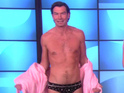 Hollywood actor Jerry O'Connell strips to bejewelled Speedos in a dunk tank.