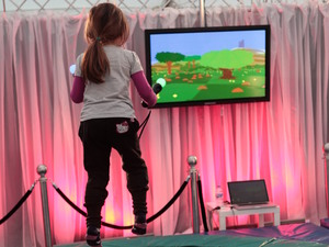 Game City 7 Festival: Playing indie exploration game Proteus on a trampoline.