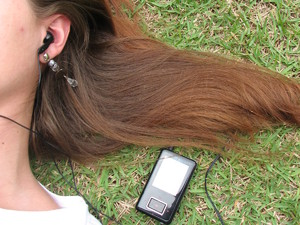 Girl listening to music / radio