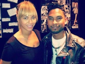 Miguel and Beyoncé in the studio.