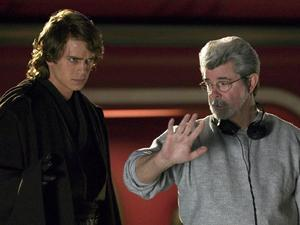 George Lucas with Hayden Christensen's Anakin Skywalker.