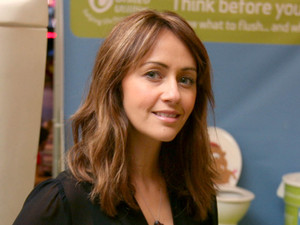 Samia Ghadie at the Trafford Centre with a giant toilet
