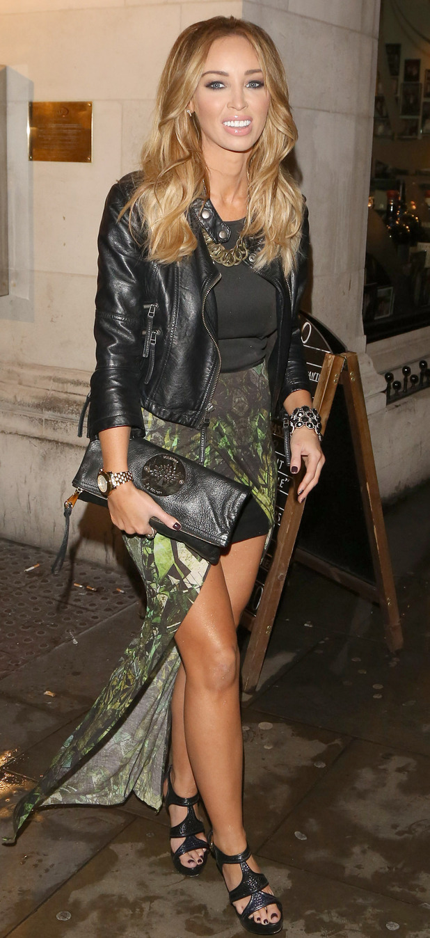 Lauren Pope leaving San Carlo restaurant in Liverpool.