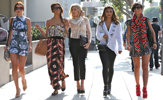 Una Healy, Rochelle Humes aka Rochelle Wiseman, Mollie King, Vanessa White, Frankie Sandford 'The Saturdays' shopping on Robertson Boulevard Los Angeles, California - 02.11.12 Mandatory Credit: Michael Wright/WENN.com