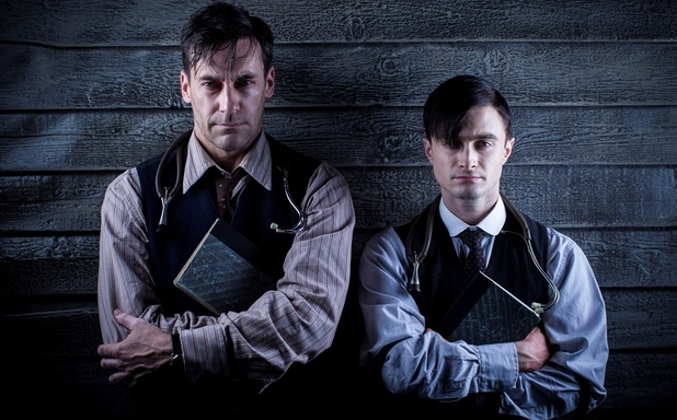 Daniel Radcliffe and Jon Hamm in Sky Arts's 'A Young Doctor's Notebook'.