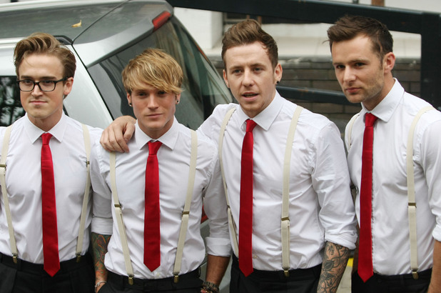 Tom Fletcher, Dougie Poynter, Danny Jones and Harry Judd of McFly at the ITV studios London, England