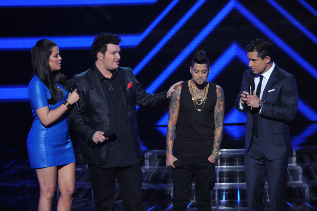 'The X Factor' USA TX Nov 1 - Jason Brock consoles David Correy as he is eliminated