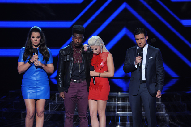 'The X Factor' USA TX Nov 1 - Willie Jones and CeCe Frey await the results of the Young Adults' elimination
